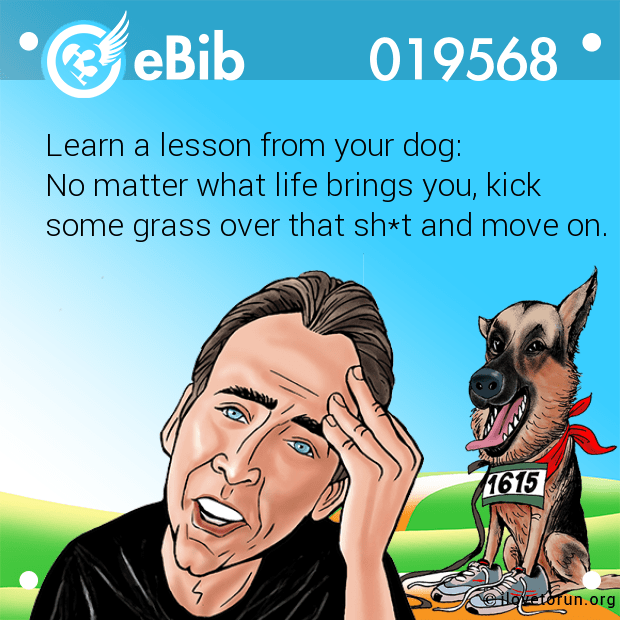 Learn a lesson from your dog:  No matter what life brings you, kick  some grass over that sh*t and move on.
