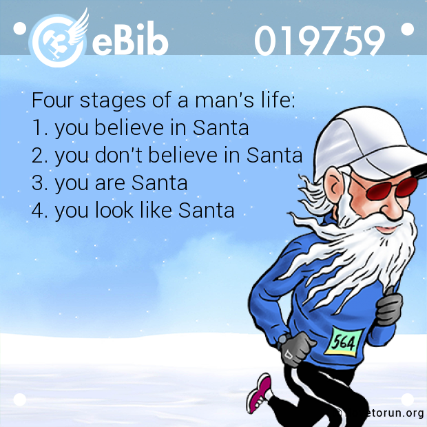 Four stages of a man's life: 1. you believe in Santa 2. you don't believe in Santa 3. you are Santa 4. you look like Santa
