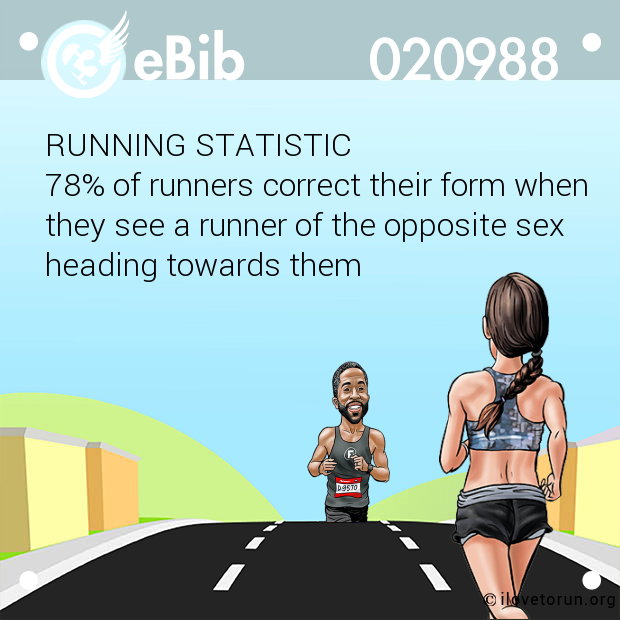RUNNING STATISTIC 78% of runners correct their form when  they see a runner of the opposite sex heading towards them