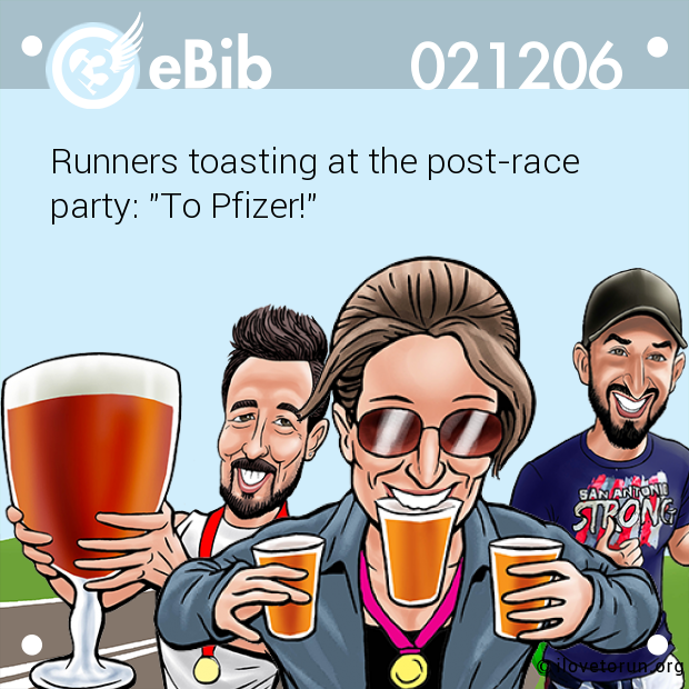 Runners toasting at the post-race 
