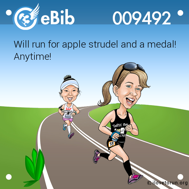 Will run for apple strudel and a medal!