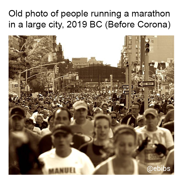 Old photo of people running a...