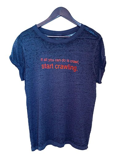START CRAWLING burnout tee
