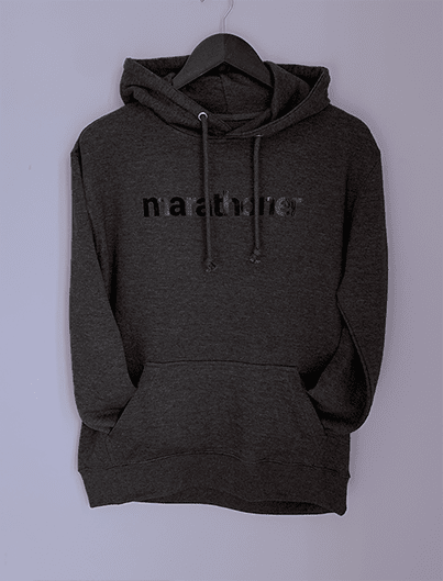 MARATHONER frech terry hoodie, heather charcoal